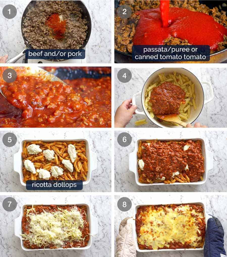 How to make Baked Ziti - preparation steps
