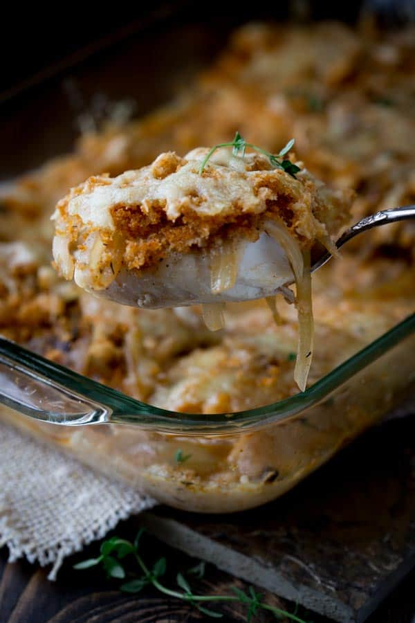 Caramelized Onion, Fish and Swiss Cheese Casserole with breadcrumbs and white wine less than 300 calories