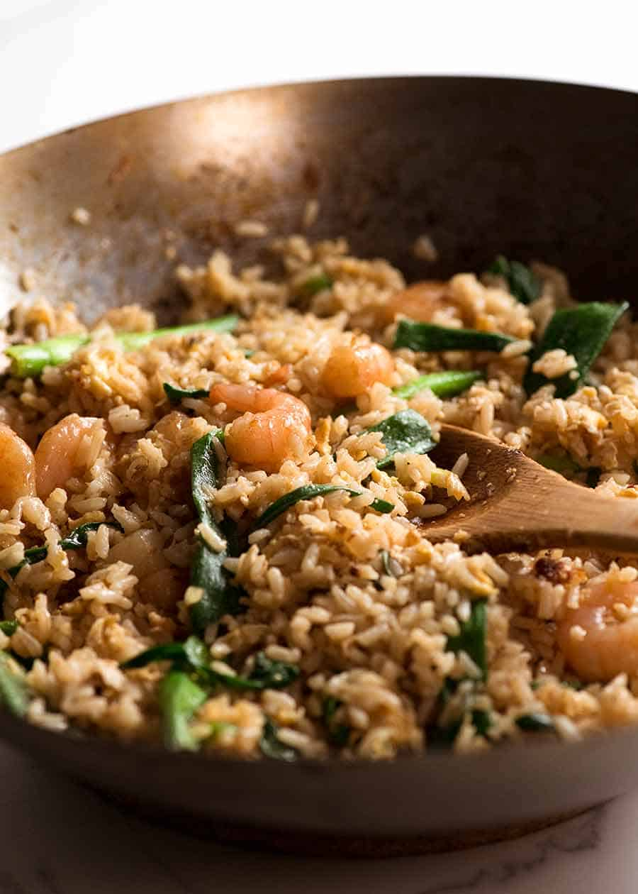Thai Fried Rice in a wok, fresh off the stove