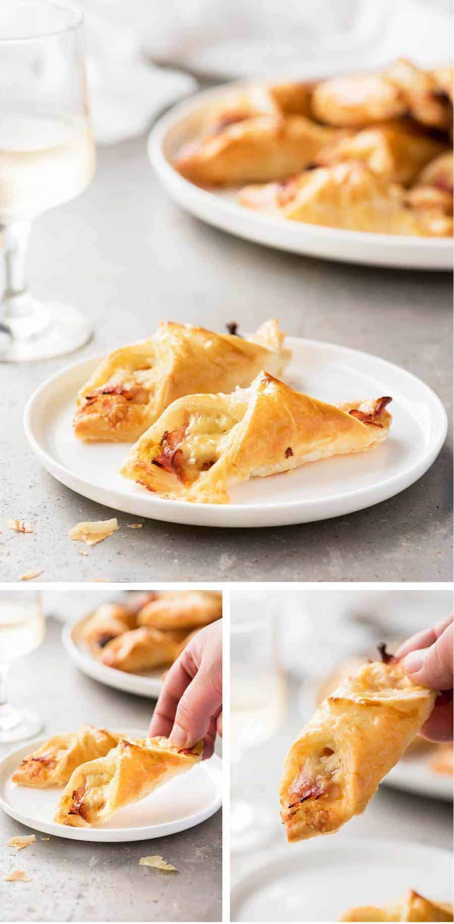 Ham Cheese Puff Pastry Parcels - great little party food that only require 5 ingredients: puff pastry, mustard, ham, cheese and egg!
