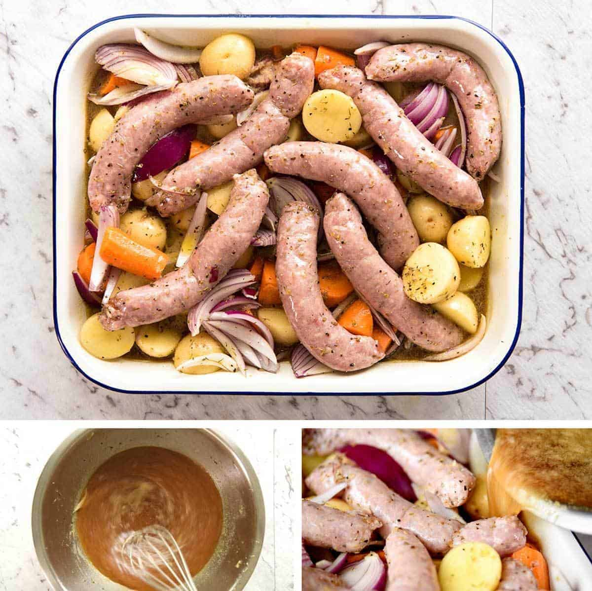 How to make Sausage Bake with Vegetables and Gravy