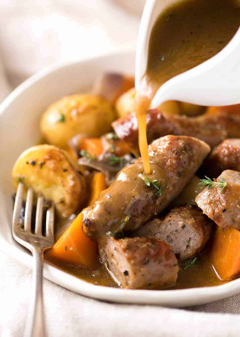 Sausage Bake and Vegetables with Gravy - baked in one pan! recipetineats.com
