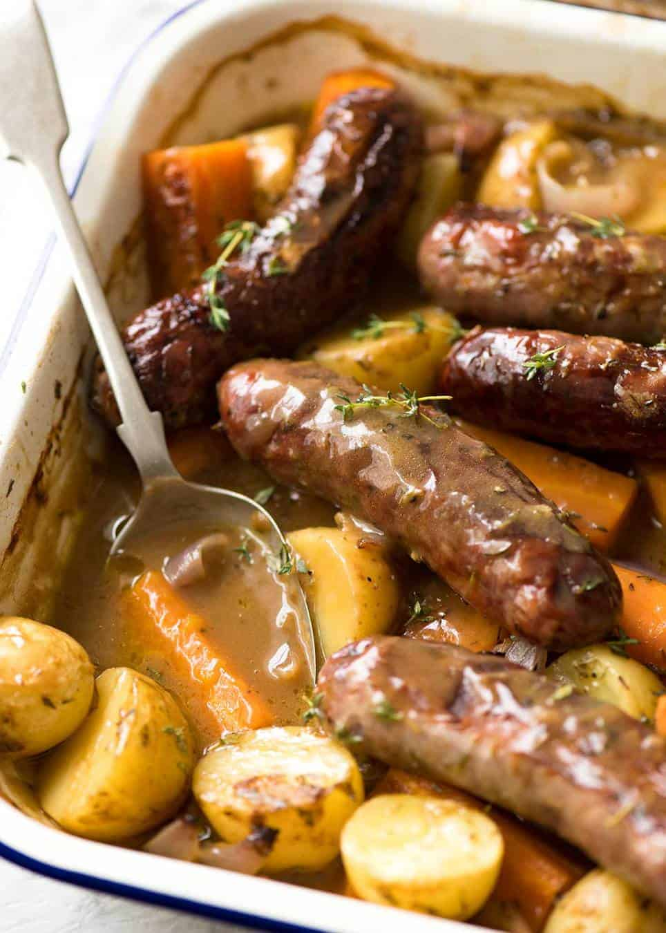 A Sausage Bake and Vegetables WITH Gravy, all made in one pan! Yes, that